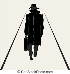 gaan, mannen, silhouette, aktentas, hand