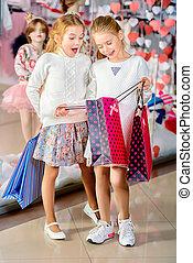 gaan, meiden, shoppen
