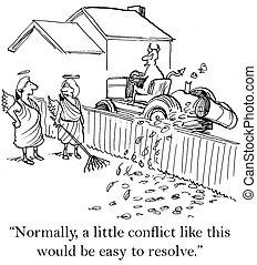 gaan, onrust, het oplossen, conflict, hebben