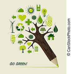 gaan, potlood, groen boom, iconen