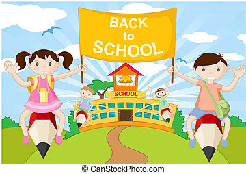 gaan, potlood, school geitjes