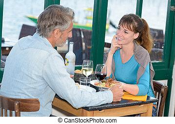 gaan, restaurant, minnaar