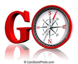 gaan, rood, woord, en, conceptueel, kompas