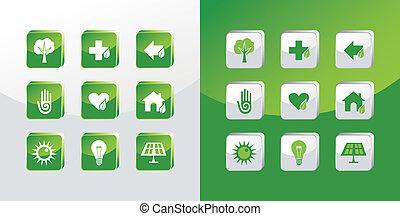 gaan, set, groene, iconen