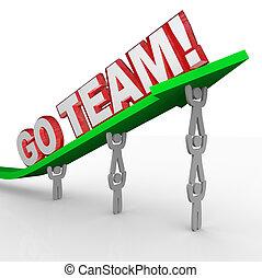 gaan team, cheerleading, mensen, lift, woorden