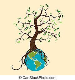gaan, wereld, boompje, groene