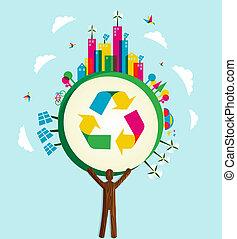 gaan, wereld, concept, groen boom