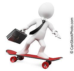 gaan, werken, skateboard, 3d, zakenman