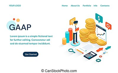 GAAP - Generally Accepted Accounting Principles website template ensuring an internationally understood language for accounting and analytics with illustration of an accountant with money and graphs
