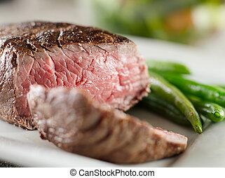 gaar, biefstuk, zelden