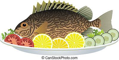 gaar, visje, en, rauwe grostes, op, een, schaaltje