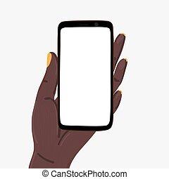 gabarit, américain, écran, main, tenue femme, vide, africaine, smartphone