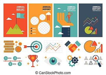 gabarit, annuel, conception, feuille, couverture, éléments, a4, icônes, plat, rapport