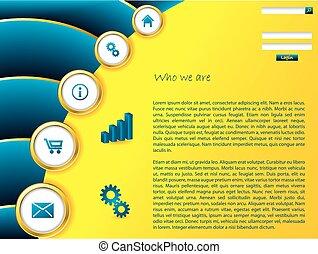 gabarit, bleu, site web, jaune, effet, vague