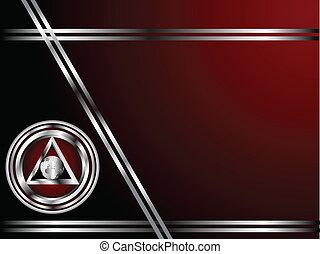 gabarit, business, profond, argent, arrière-plan rouge, ou, carte