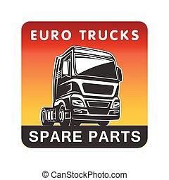 gabarit, cargaison, logo, pièces détachées, camion, fret