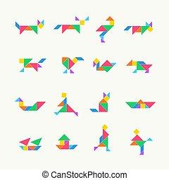 gabarit, carrée, vecteur, géométrique, triangle, illustration, tangram, set., chinois, puzzle, traditionnel