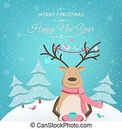 gabarit, cerf, joyeux, année, nouveau, noël carte, heureux