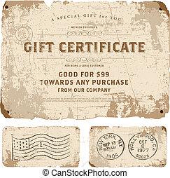 gabarit, certificat, cadeau, vecteur, vendange