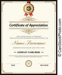 gabarit, certificat, vendange, cadre, retro, fond