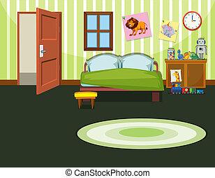 gabarit, chambre à coucher, vert
