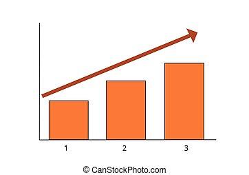 gabarit, colonnes, trois, barre, conception, graphique, croissance affaires, créatif, concept, diagramme, infographic