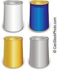 gabarit, coloré, boîtes fer blanc