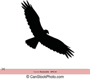 gabarit, -, conception, vecteur, silhouette, aigle, logo, illustration, oiseau