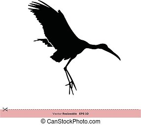 gabarit, -, conception, vecteur, silhouette, logo, flamant rose, illustration, oiseau