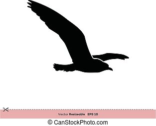gabarit, -, conception, vecteur, silhouette, logo, mouette, illustration, oiseau