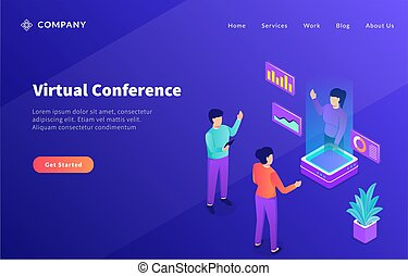 gabarit, conférence, ou, virtuel, site web, page accueil, atterrissage, hologramme, technologie, avenir