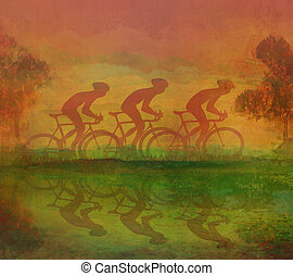 gabarit, cyclisme, grunge, affiche