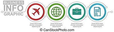 gabarit, diagramme, 4, vecteur, infographic, concept affaires, présentation, options