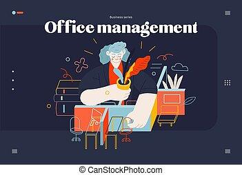 gabarit, -, directeur, sujets, bureau, affaires enchaînement