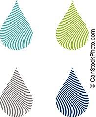 gabarit, doigt, ligne, goutte, eps, design., vecteur, ensemble, illustration, logo, 10., impression, eau