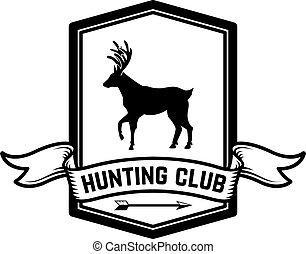 gabarit, emblème, chasse, étiquette, logo, signe, cerf, illustration, élément, affiche, silhouette, conception, vecteur, banner., club