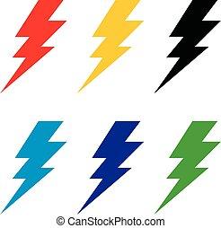 gabarit, eps, design., vecteur, ensemble, illustration, logo, signe, 10., coup foudre