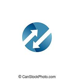 gabarit, espace, négatif, flèche, logo, cercle