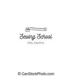 gabarit, fait main, isolé, theme., main, vecteur, bande, measure., logo, dessiné, illustration.