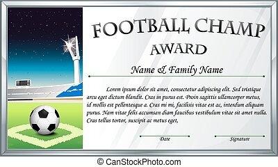 gabarit, football, champion, récompense