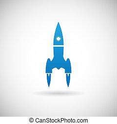 gabarit, fusée, espace, symbole, lancement, gris, illustration, vecteur, conception, fond, bateau, icône