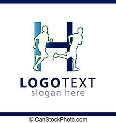 gabarit, gens, h, initiale, vecteur, lettre, logo, sport
