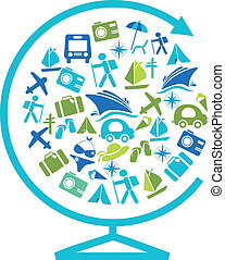 gabarit, globe, transport, voyager