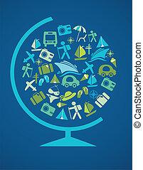 gabarit, globe, voyager, bleu