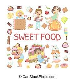 gabarit, gosses, vecteur, bannière, doux, bonbons, mignon, illustration, nourriture mangeant