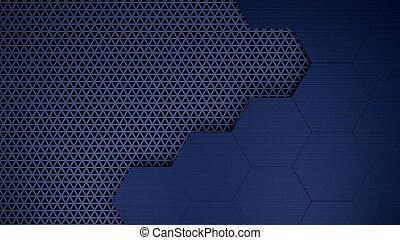 gabarit, grille, hexagones, blu, fond, illustration, 3d