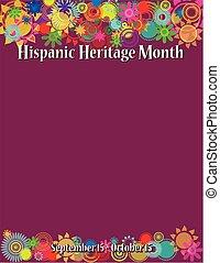 gabarit, héritage, hispanique, mois, affiche