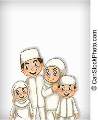 gabarit, heureux, conception, famille, fond, musulman