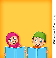 gabarit, heureux, conception, garçon, lecture fille, fond, musulman