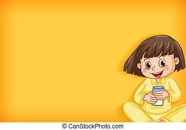 gabarit, heureux, jaune, conception, girl, pyjamas, fond